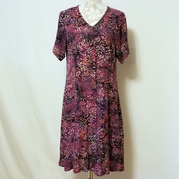 Orvis Dresses & Skirts - Orvis Button Front Fern Print Dress Sz. M